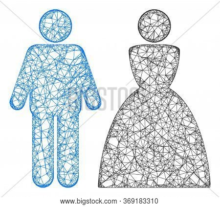 Web Mesh Wedding Couple Vector Icon. Flat 2d Carcass Created From Wedding Couple Pictogram. Abstract