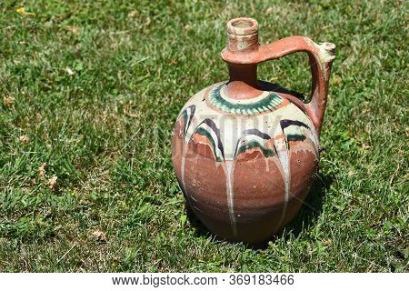 Old Hand Made And Painted Clay Pots
