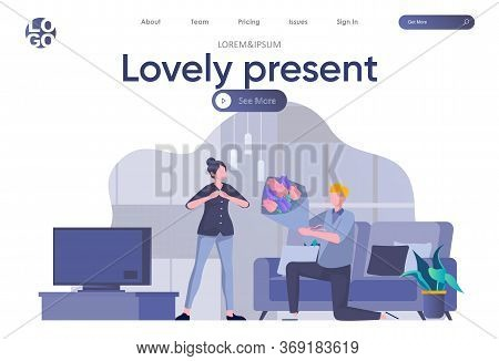 Lovely Present Landing Page With Header. Man Presenting Bouquet Of Flowers To His Beloved Scene. Cou