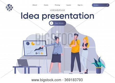 Idea Presentation Landing Page With Header. Woman Making Business Presentation With Diagrams Before