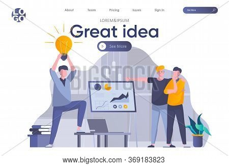 Great Idea Landing Page With Header. Man Presenting New Great Idea Before Investors, Startup Team Br