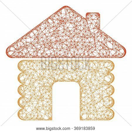 Web Net Wooden House Vector Icon. Flat 2d Carcass Created From Wooden House Pictogram. Abstract Fram
