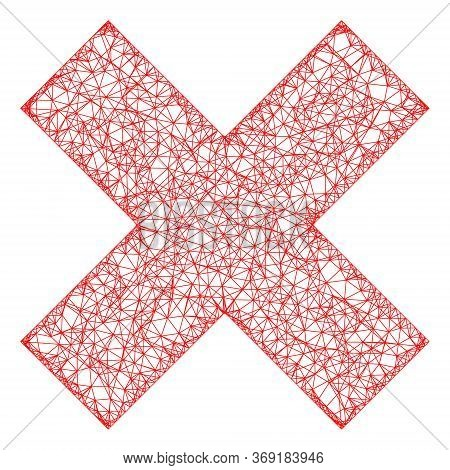 Web Network X-cross Vector Icon. Flat 2d Carcass Created From X-cross Pictogram. Abstract Carcass Me