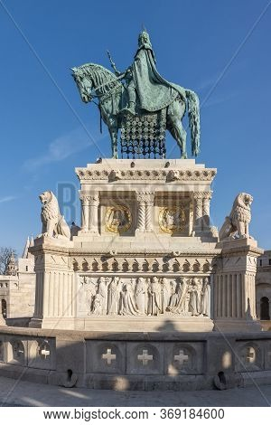 Bronze Equestrian Statue Of King Stephen At Fishermans Bastion On Bada Mountain In Budapest