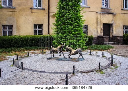 Poznan, Poland - 05 May 2015: Statue Of Poznan Goats Symbol Of The City. There Is A Legend That They