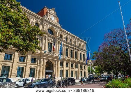 Cannes, France - June 12, 2019 : City Hall, Built In 1876, Is An Elegant Building Situated Just Belo