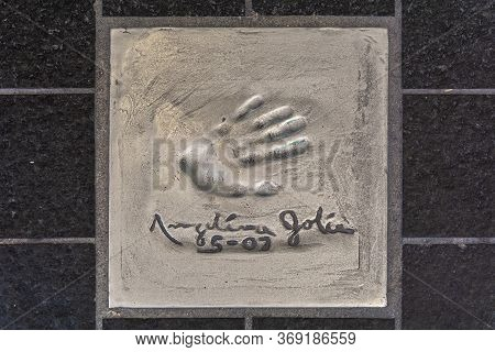 Cannes, France - June 12, 2019 : Handprints Of Celebrities. The Imprint Of The Hand Of A Famous Actr