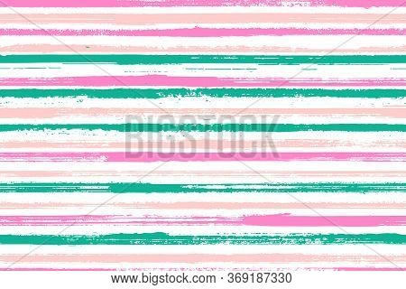 Ink Freehand Rough Stripes Vector Seamless Pattern. Distressed Gift Wrapping Paper Design. Grainy Te