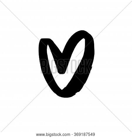 Heart Icon Design. Simple Heart Isolated On White Background. Black Clip Art Love Element. Hand Draw