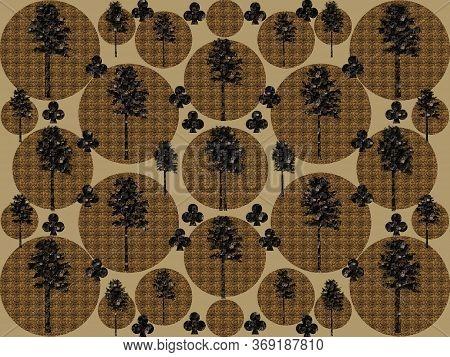 Black Trees Patterns On Brawny Circles Textures Background