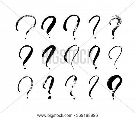 Question Marks Vector Icon Set. Hand Drawn Doodle Questions Marks. Ink Illustartion Isolated On Whit