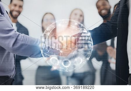 Business Future. Two Businessmen Handshaking Exchanging Data During Companies Consolidation. Double