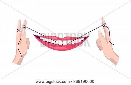 Clean Teeth. Dental Floss. Use Hygiene Floss For Teeth. Oral Health Care Concept. Mouth And Teeth Hy