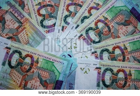 One Hundred Belarusian Rubles. Hundred-ruble Bill Of The Republic Of Belarus. National Currency. Bac
