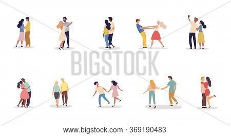 Collection Of Ten Different Romantic Couples On A Date Holding Hands, Dancing, Kissing, Embracing An