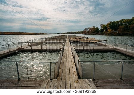 Cages For Sturgeon Fish Farming In Natural River Or Pond