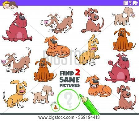Cartoon Illustration Of Finding Two Same Pictures Educational Game For Children With Dogs And Puppie
