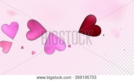 Falling Hearts Vector Confetti. Valentines Day Tender Pattern. Trendy Gift, Birthday Card, Poster Ba