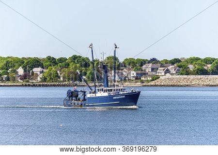 Fairhaven, Massachusetts, Usa - June 1, 2020: Commercial Fishing Boat Anticipation, Hailing Port Cap