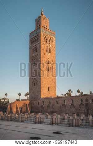 Koutoubia Mosque Minaret During Twilight Located At Medina Quarter Of Marrakesh, Morocco, North Afri