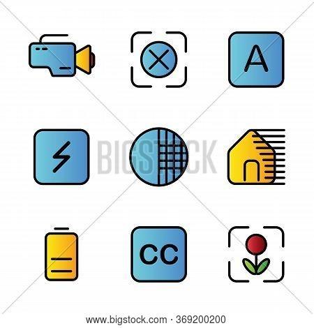 Photo Editor Icon Set Include Camera, Device, Video, Record, Focus, None, Auto, Optional, Flash, Opt