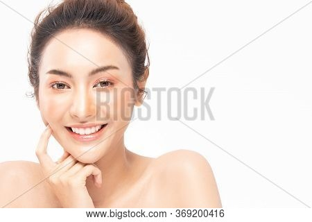 Beauty Asian Women Portrait Face With Natural Skin And Skin Care Healthy Hair And Skin Close Up Face