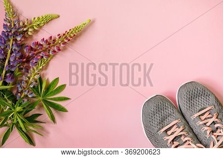Gray Womens Summer Sneakers And Pink Purple Flowers Lupine On Pink Background. Womens Shoes. Fashion