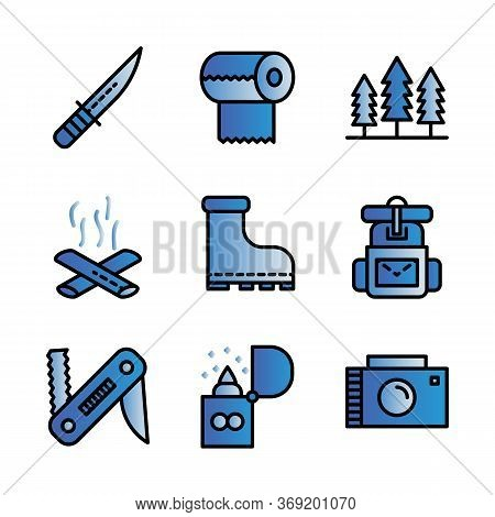 Camping Icon Set Including Knife,cam,survive,adventure,tissue, Camp,trees, Camping,fire,bonfire,shoe