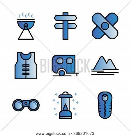 Camping Icon Set Including Barbeque,camp,cooking,survive,road Sign,adventure,life Jacket,caravan,mou