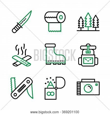 Camping Icon Set Including Knife,cam,survive,adventure,tissue,camp,trees, Camping,fire,bonfire,shoes