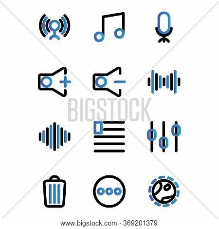 Music And Multimedia Icon Set Outline Include Circle,music,start,play,signal,phase,connecting,tone,t