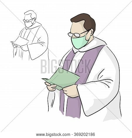 Priest Or Pastor With Surgical Mask And Glasses Giving A Funeral Service In Covid-19 Situation Vecto
