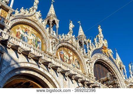 Saint Mark`s Basilica Or San Marco Closeup, Venice, Italy. It Is Top Landmark In Venice. Beautiful C