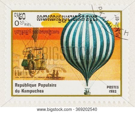 Seattle Washington - May 27, 2020: 1983 Cambodia Stamp Featuring Blue And White Striped Balloon, Com