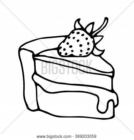 Triangular Piece Of Cake With Strawberries, Icing And Cream, Festive Dessert, Vector Illustration Wi