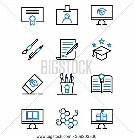 School Icon Set Include Certificate,id Card,pen,study,bachelor,eraser,equipment, Book,science,comput