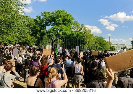 Washington D.c., Usa - May 31, 2020: Protest After George Floyd Death, Black Lives Matter Group Stan