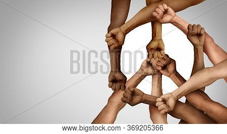 Peace Protest Group And Protester Unity And Diversity Partnership As Hands In A Fist Of Diverse Peop
