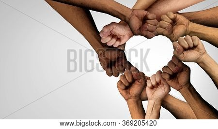 Peaceful Protest Group And Protester Unity And Diversity Partnership As Heart Hands In A Fist Of Div