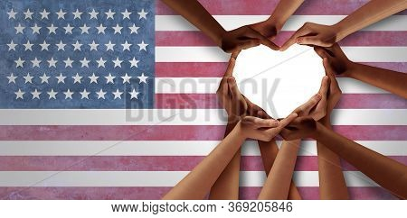 Independence Day Usa And Memorial Day Or 4th Of July Diversity Celebration With The National Flag As