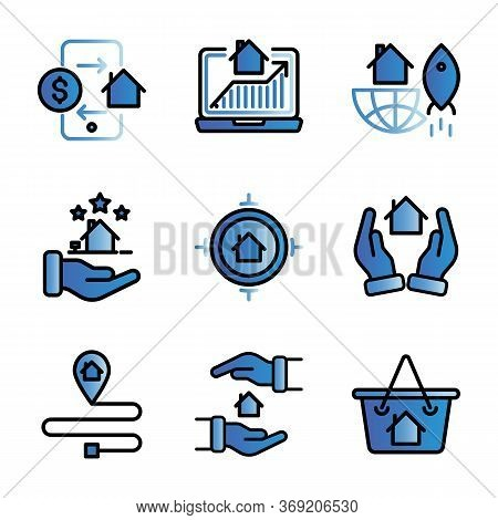 Marketing Real Estate Icon Set Include Phone,traffic,infestation,hand,target,road,protection,cart