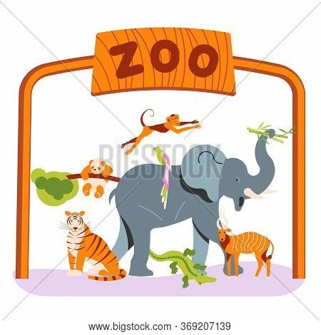 Zoo Invite Banner Design. Zoological Garden Entrance Template With Various Animals And Birds. Flat A