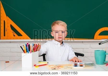 Elementary School. School Kids. Child Home Studying And Home Education. Elementary School Classroom.