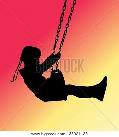 Girl silhouette swinging