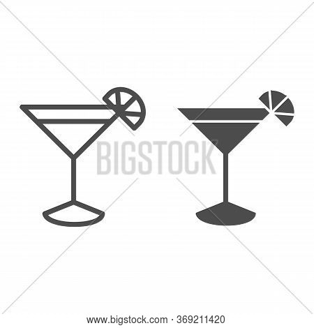 Cocktail Line And Solid Icon, Drinks Concept, Martini Cocktail Sign On White Background, Cocktail Gl