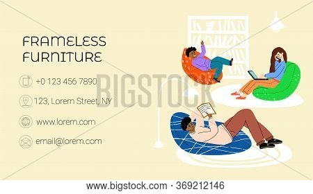 Vector Flat Illustration Business Card For Frameless Furniture Store With Place For Information. Can
