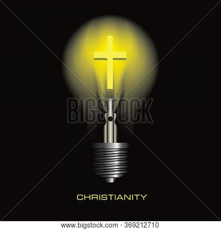 Light Bulb On A Black Background With The Symbol Of Christianity