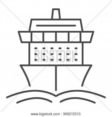 Cruise Ship Thin Line Icon, Summer Journey Concept, Ship With Waves Sign On White Background, Cruise