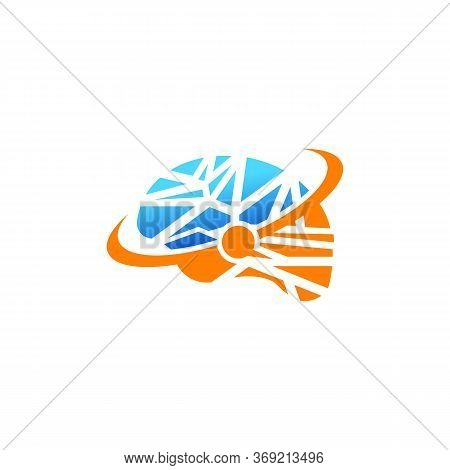 Connected Dot Line Brain Logo Template, Think Idea Concept. Brain Logotype Icon Logo.brain Technolog