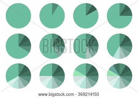 Pie Chart Vector Icon. Color Wheel Divided Into Sectors. Stock Photo.